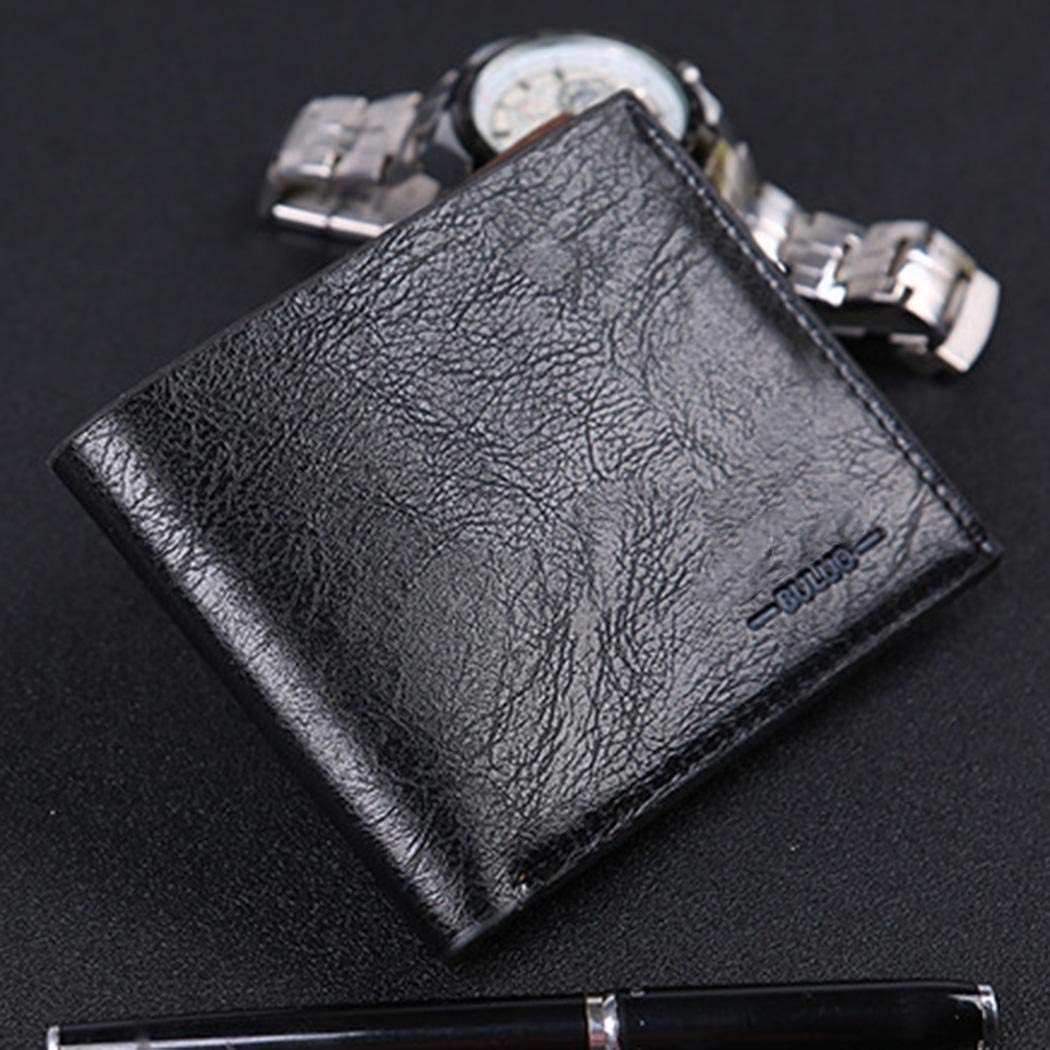 Fashion and Slim with 4 Card Slots and Divided Billfold Leather Bifold Wallet for Men