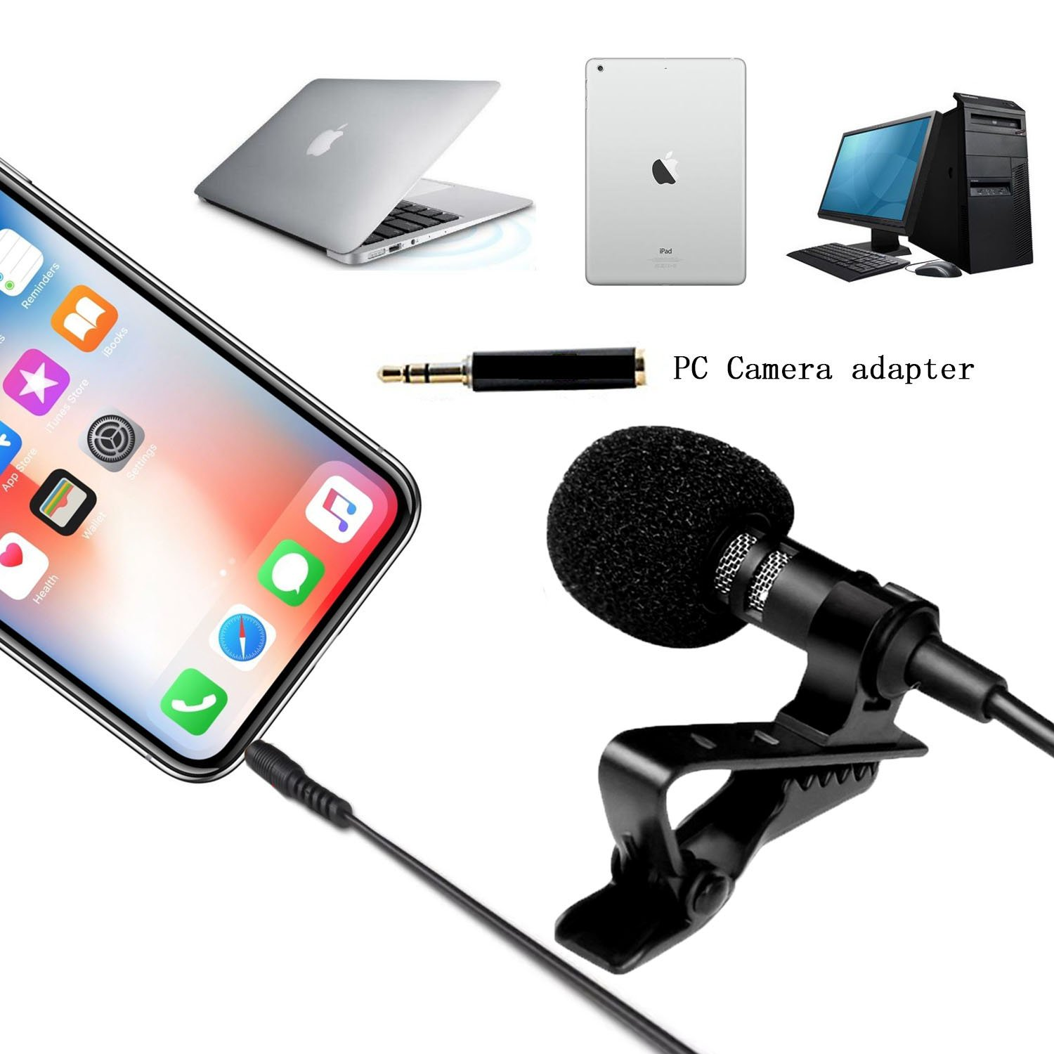 EIALA Professional No1. Lavalier Lapel Microphone ­ Omnidirectional Mic with Easy Clip On System ­ Perfect for Recording Youtube / Interview / Video Conference / Podcast / Voice Dictation / iPhone iPad iPod Android Mac PC mkfss002