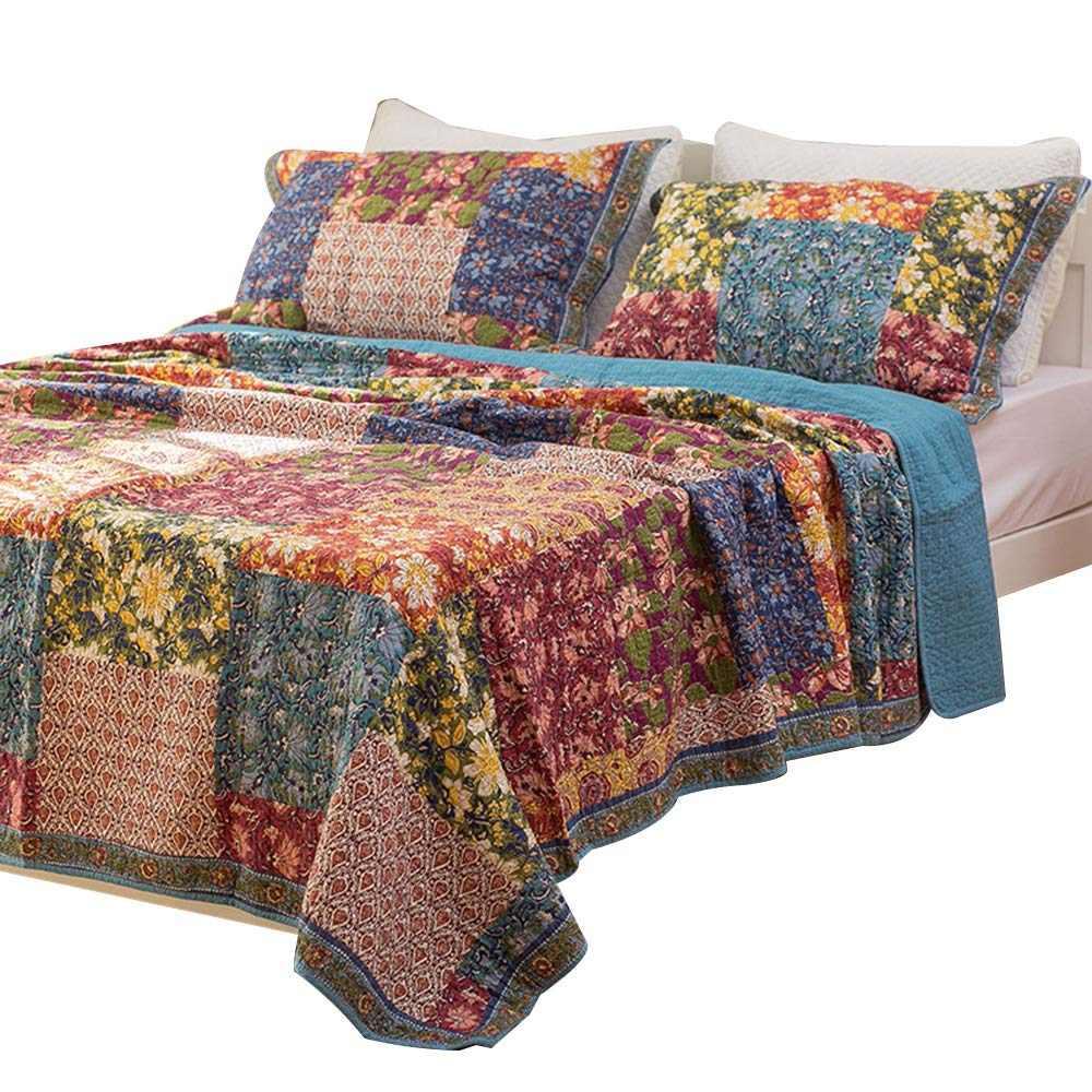 Shabby Chic Floral 3 Pieces Country Patchwork Bedspread Quilts Set Queen King Comforbed