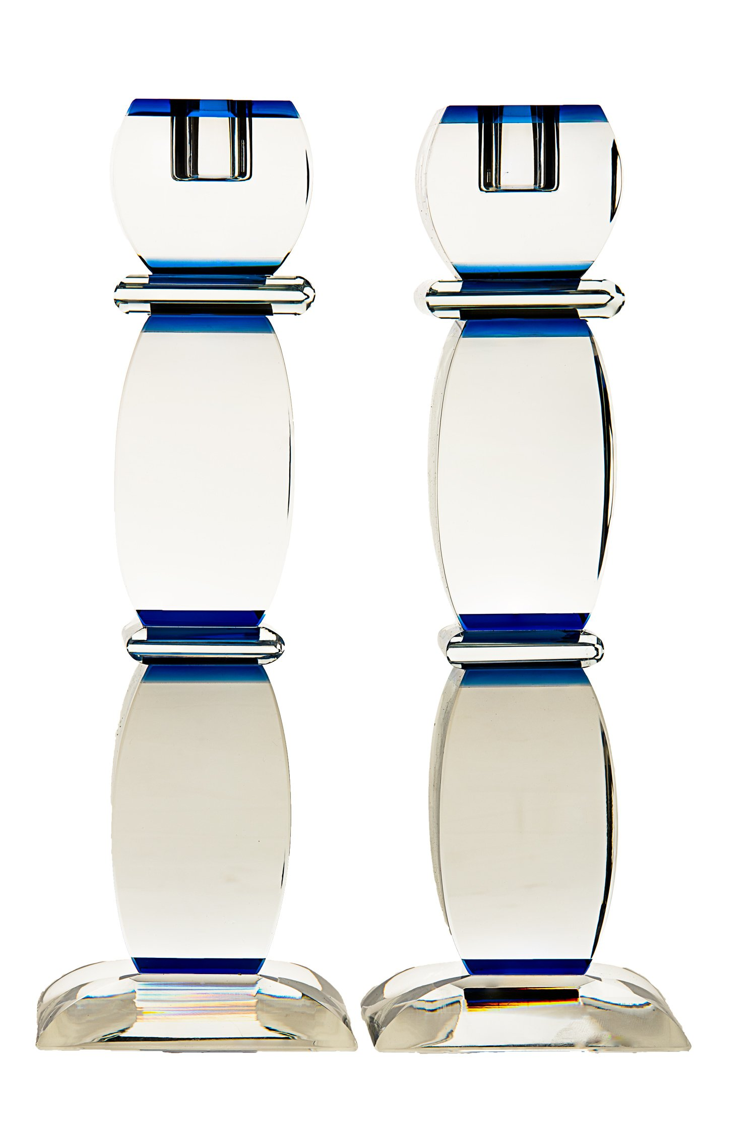 Crystal Candlesticks Accentuated with Deep Blue Accents 9.5''