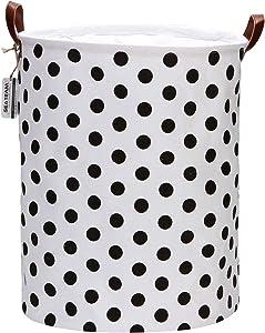 Sea Team 19.7 Inches Large Sized Waterproof Coating Ramie Cotton Fabric Folding Laundry Hamper Bucket Cylindric Burlap Canvas Storage Basket with Stylish Black Polka Dot Design
