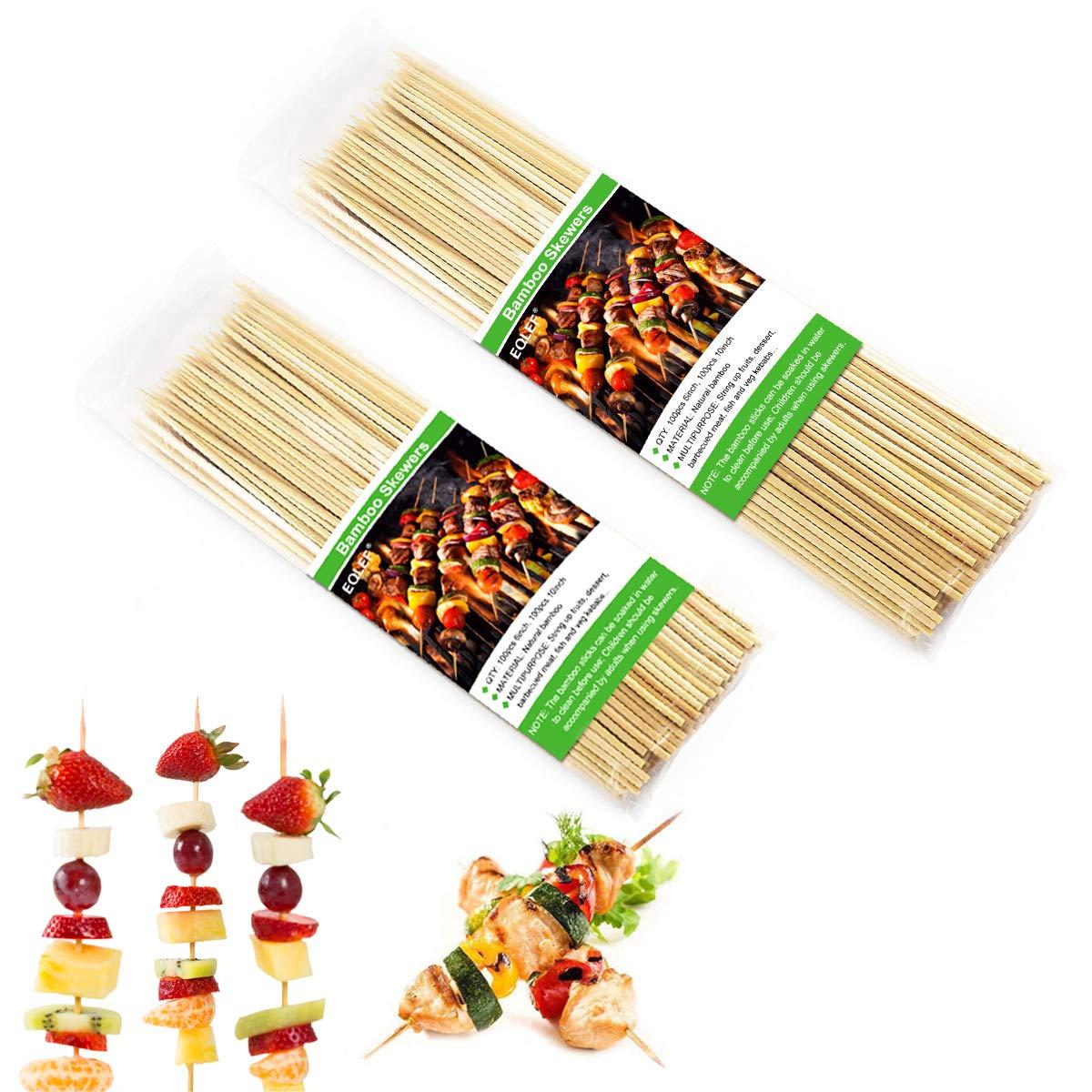EQLEF Bambusspie/ße Canape Cocktail B/üffet Dessert Bankett Alltagsleben zum Grillen 100er Pack 15cm Bambus-Spie/ße und 100er Pack 25cm BBQ Fruit Kebab Sticks f/ür Party Marshmallow