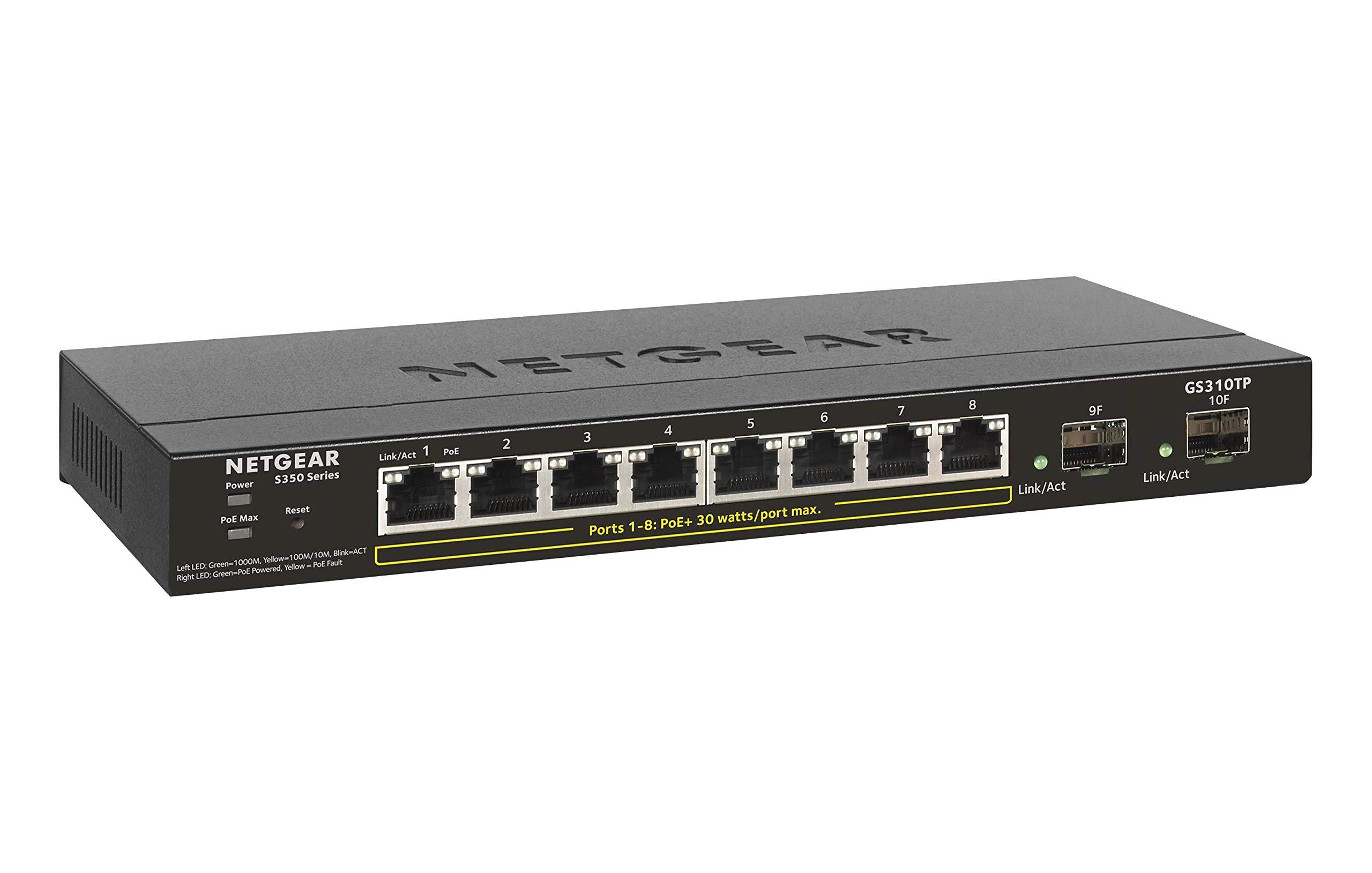 NETGEAR 10-Port Gigabit Ethernet Smart Managed Pro PoE Switch (GS310TP) - with 8 x PoE+ @ 55W, 2 x 1G SFP, Desktop, Fanless Housing for Quiet Operation, S350 Series by NETGEAR