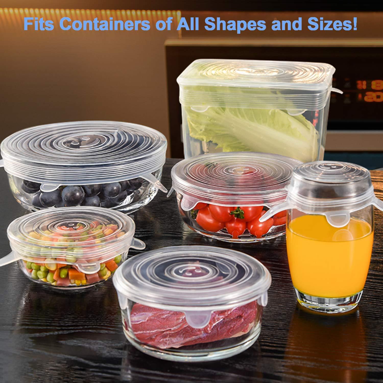 Couvercle Silicone Alimentaire 12 Pi/èces,Couvercle Silicone Extensible Reutilisable sans BPA,Plat Silicone Bol Couvercle Universel de 6 Tailles Differentes pour Bol Pyrex,Conteneur,Pot Cuisine