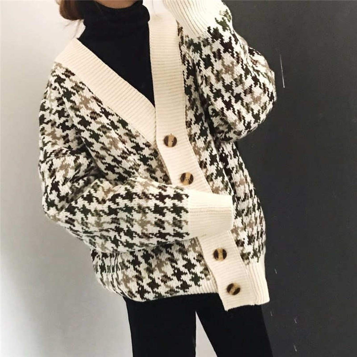 Cardigan Women Plaid Knitted Sweater Single Button Clothes Long Coat Oversize Jumper Tops