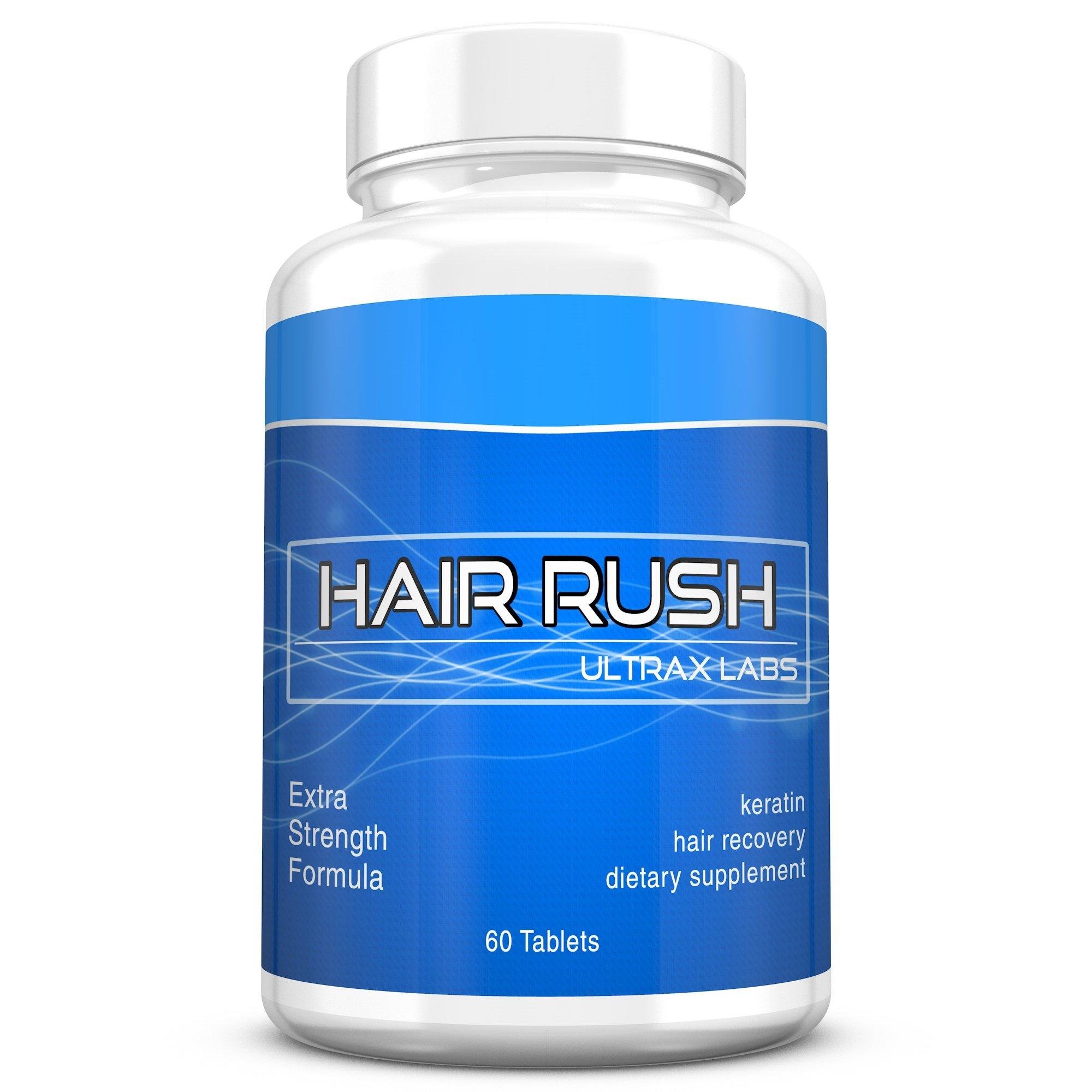Ultrax Labs Hair Rush | Maxx Hair Growth & Anti Hair Loss Nutrient Solubilized Keratin Vitamin Supplement, 60 tablets. by Ultrax Labs