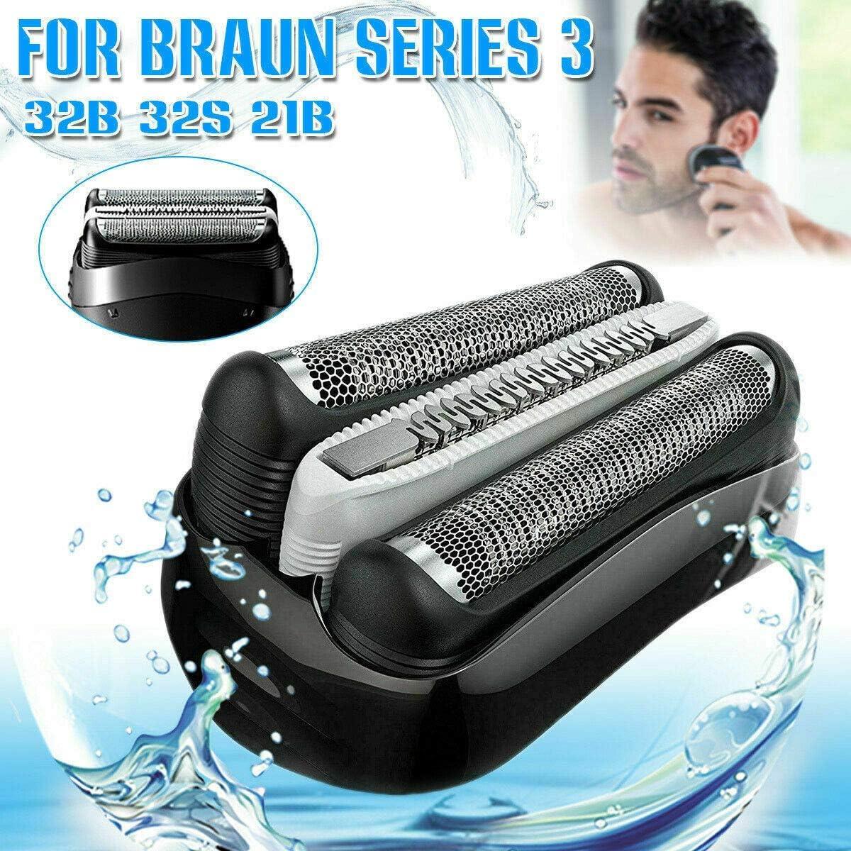 21B - Pieza de repuesto para afeitadora Braun, compatible con la serie 3 de cabezal de casete de cartucho de lámina de afeitadora, cabezal de repuesto para Braun 32B 32S 21B (negro):