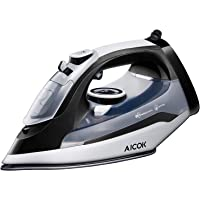 AICOK 1400W Non-Stick Stainless Steel Soleplate Steam Iron (Black)