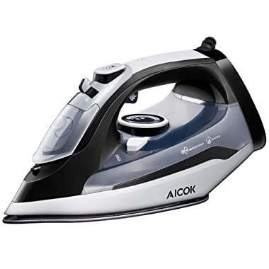 AICOK Steam Iron, 1400W Non-Stick Soleplate Iron, Variable Temperature and Steam Control, Anti-Drip, Rapid Heating, Black