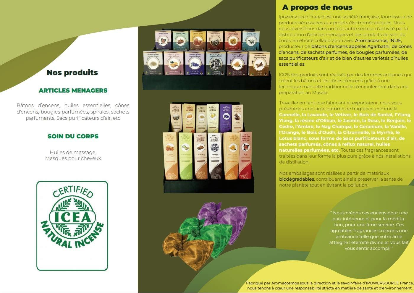 Fragancia rosa Italia Varillas de incienso 100 /% naturales certificadas por ICEA Fabricaci/ón tradicional