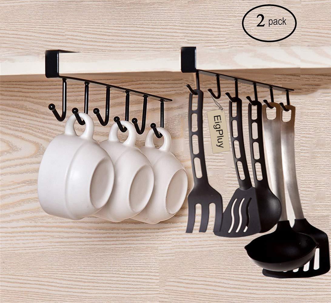 EigPluy 2pcs Mug Hooks Cups Wine Glasses Storage Hooks Kitchen Utensil Ties Belts and Scarf Hanging Hook Rack Holder Under Cabinet Closet Without Drilling,Black