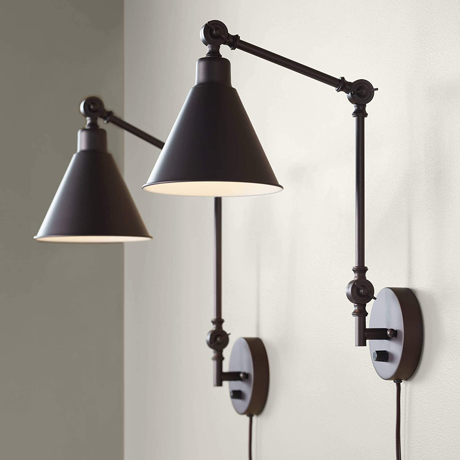 Wray Modern Industrial Up Down Swing Arm Wall Lights Set of 2 Lamps Dark Brown Sconce for Bedroom Reading