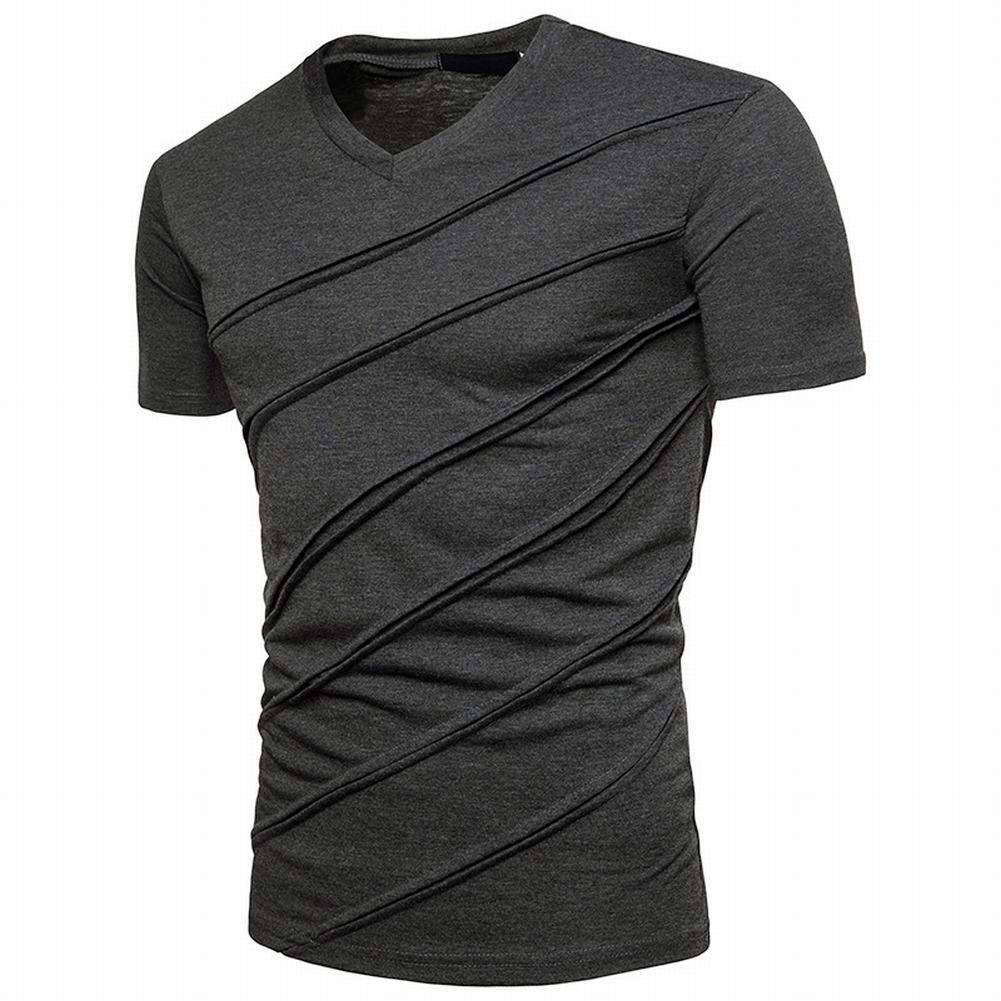 Yangxinyuan Retro Men's Casual Zipper Short Sleeve Striped T-Shirts,Summer Fashion Cotton Solid V Neck Tee(XL,Q83Dark Grey)