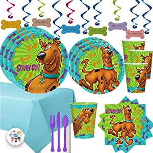 Mega Scooby Doo Birthday Party Supplies Pack For 16 With Scooby Doo Dinner and Dessert Plates, Napkins, Cups, Tablecover, Cutlery, Happy Birthday Dog Bone Swirls, 1 Favor Cup, and Exclusive Paw Pin