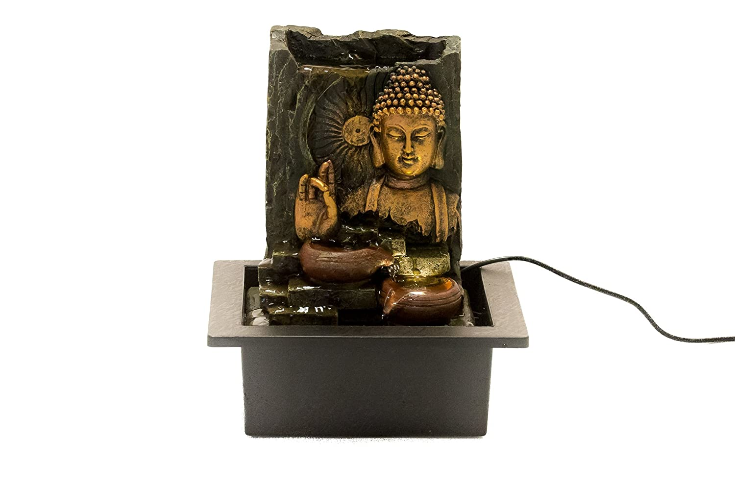 Buddha Hand Gestures Indoor Fountain By ZENINFLUX- Polyresin Water Fountain With Lighting System- Electric Pump- Easy Installation- Relaxing & Calming- Soothing & Ambient Effect- Size:L21xW17xH25cm topfusionworld Ltd