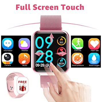 YENISEY Reloj Inteligente, Full Touch Presión Arterial Monitor de frecuencia cardíaca Sleep Tracker Health SmartWatch Hombres Mujeres para iOS Android