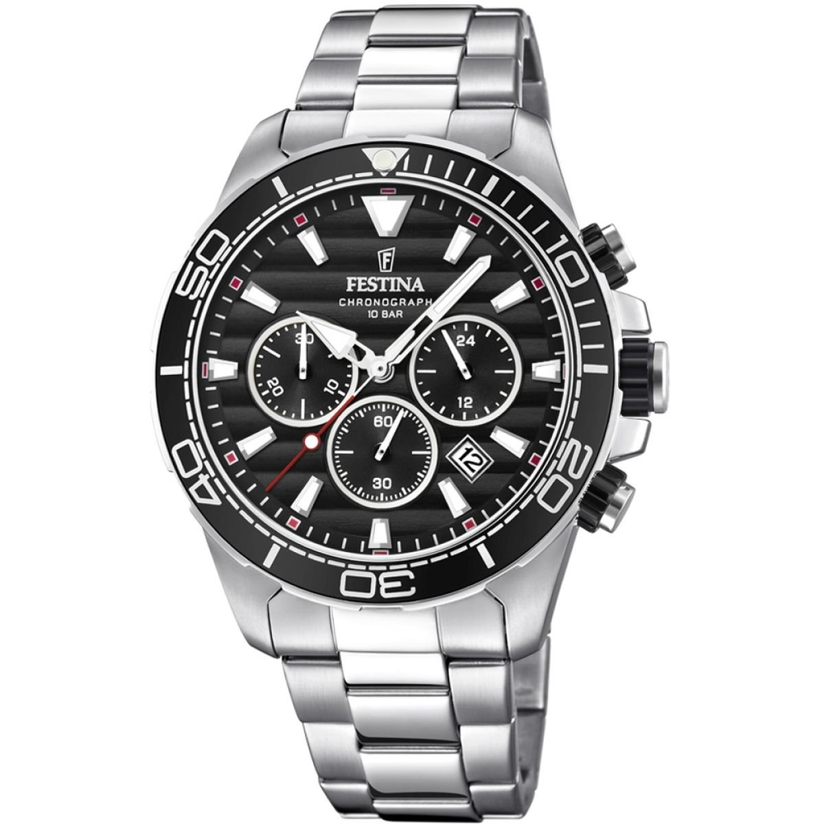 Men 's Watch Festina – f20361 /4 – クロノグラフ – クオーツ – 日付 – AM/PM – スチールとブラック – stainless-steelストラップ B07DX3S3C7
