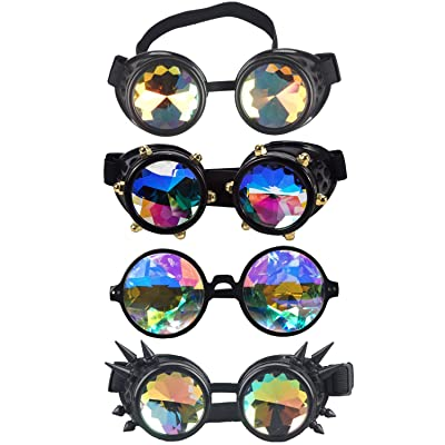 Kaleidoscope Rave Rainbow Crystal Lenses Vintage Goggles Glasses: Clothing