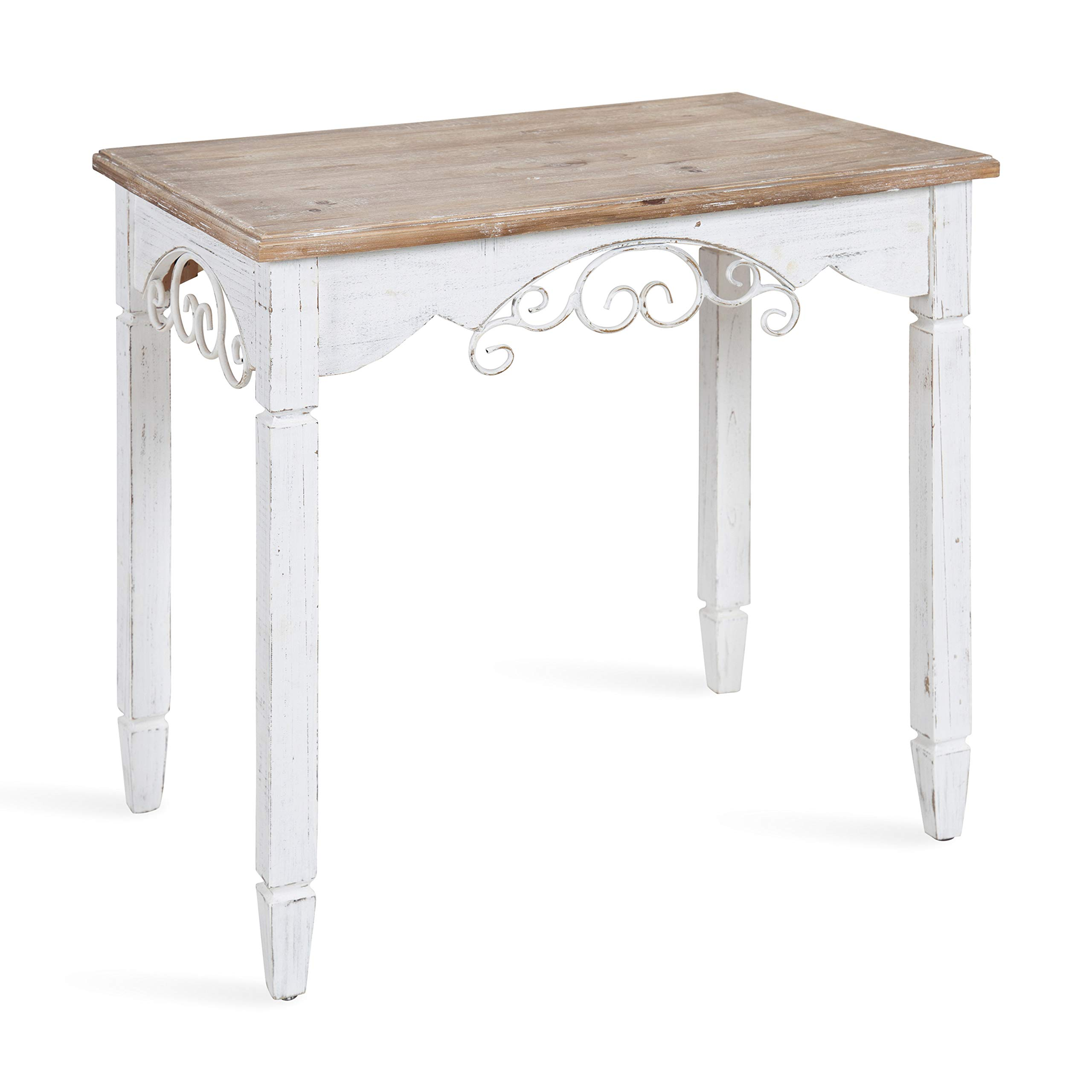 Kate and Laurel Kimberlyn Vintage Farmhouse Wood End Table, White and Rustic Wood by Kate and Laurel