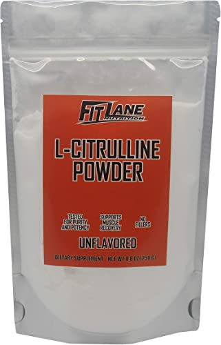 L-Citrulline Powder, Bulk Free Form Amino Acid Supplement. Raw and Pure with no Additives by Fit Lane Nutrition. 250 Gram Bag.