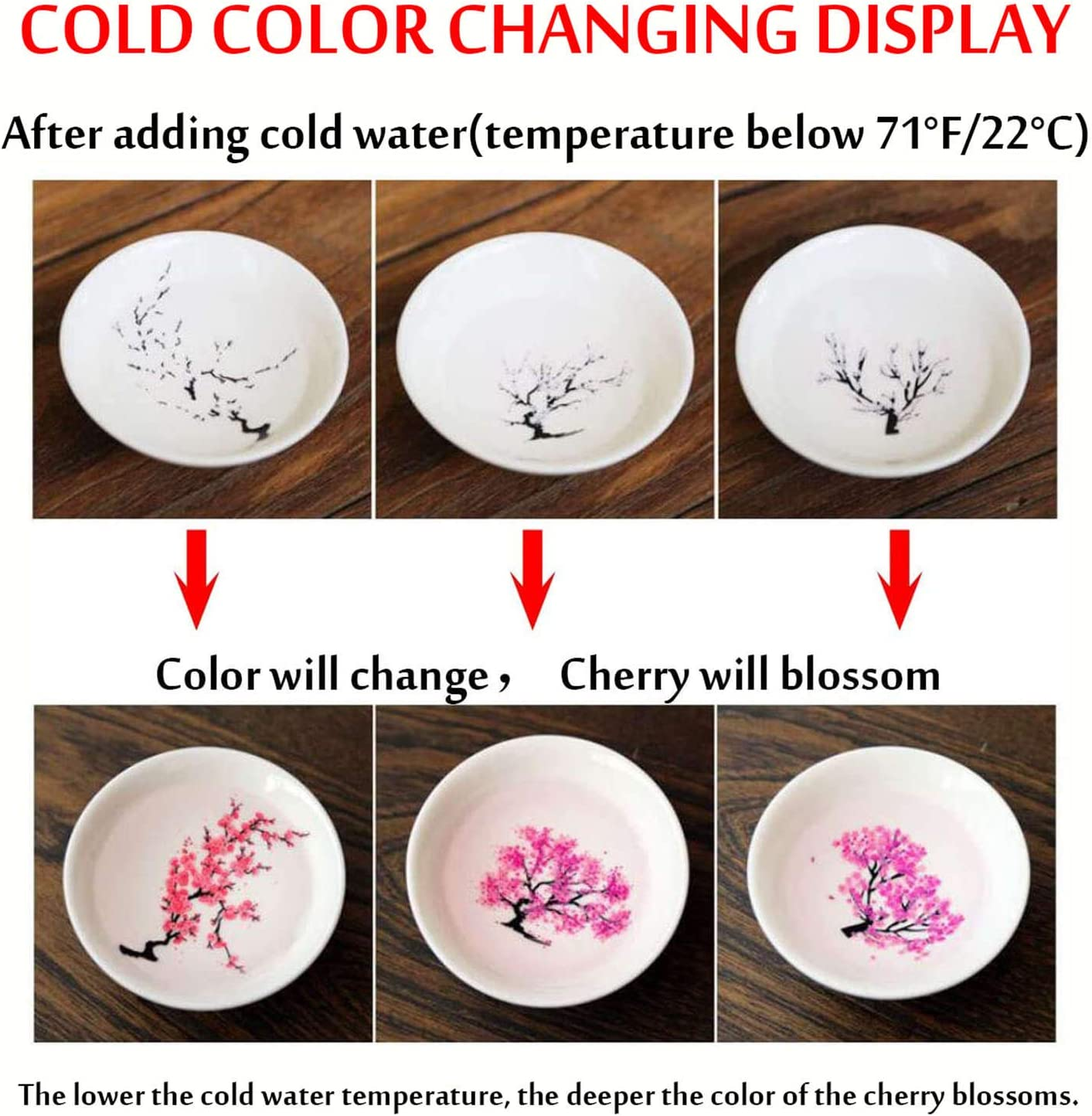Color Change Magic Tea Cup Cold//Hot Cherry Plum Peach Blossom display Sake Cup