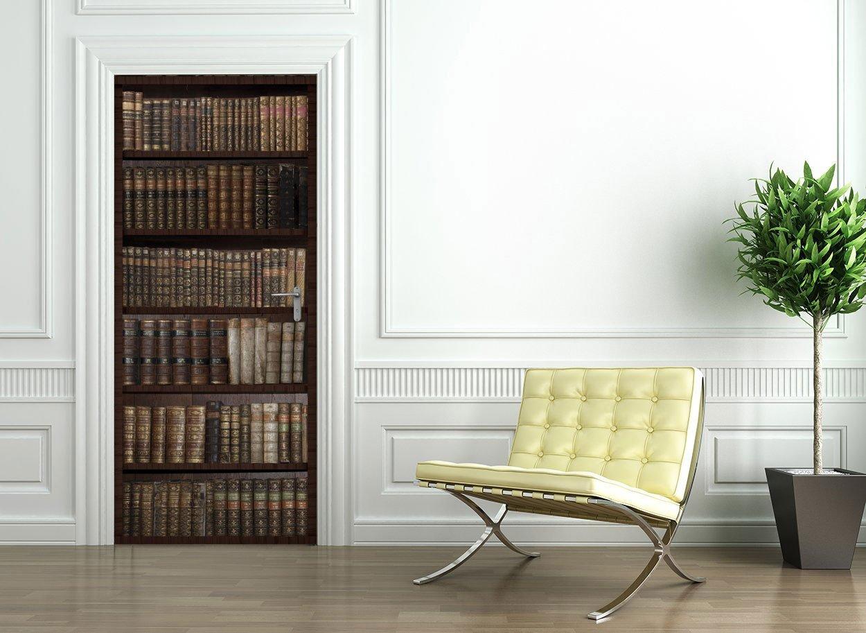 Ambiance-Live Adesivo Porta 204x 83cm–motivo: libreria con libri antichi