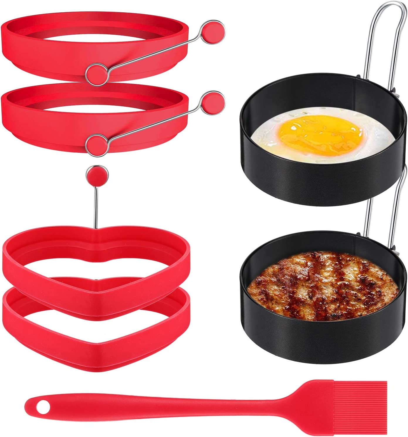 6 Pieces Egg Ring Non Stick Pancake Ring Egg Circle Ring Stainless Steel Egg Cooker Rings Silicone Fried Egg Mold Heart Egg Rings with Silicone Brush for Egg Shaping