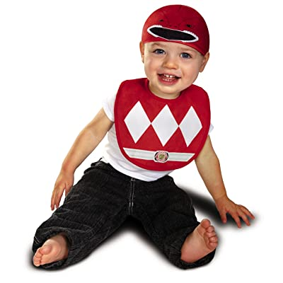 Disguise Baby Saban Power Rangers Mighty Morphin Red Ranger Infant Bib and Hat Costume, Red, 0-6 Mths: Clothing
