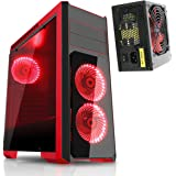 CiT Flash Gaming PC Case with 850W Power Supply (PSU): Tempered Glass Front & Side Panel Midi Tower Red LED - Red/Black
