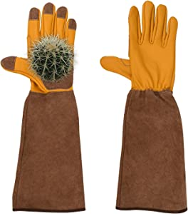 Long Sleeve Gardening Gloves, Professional Puncture Proof Gloves for Rose Pruning & Cactus Trimming, Durable Thick Cowhide Leather Work Garden Gloves Gifts for Women & Men (Large, Yellow)