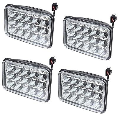 4x V-Spec 4x6 Premium LED Headlight Conversions - Clear Diamond 4x6 LED Headlight Sealed Beam Replacement HID Xenon H4651 H4652 H4656 H4666 H6545: Automotive