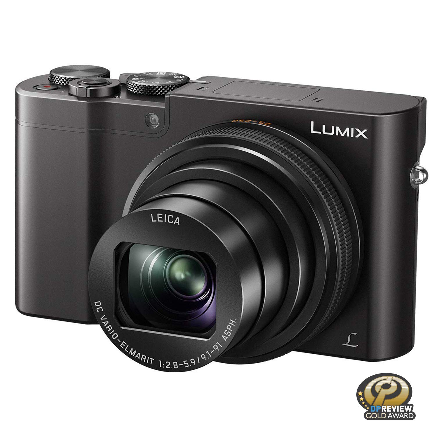 PANASONIC LUMIX ZS100 4K Digital Camera, 20.1 Megapixel 1-Inch Sensor 30p Video Camera, 10X LEICA DC VARIO-ELMARIT Lens, F2.8-5.9 Aperture, HYBRID O.I.S. Stabilization, 3-Inch LCD, DMC-ZS100K (Black) by Panasonic