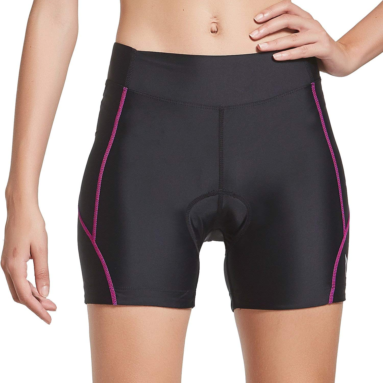 Baleaf Women's Cycling Shorts 3D Padded UPF 50+ Bike Shorts Underwear Black Hot Pink Size M by Baleaf