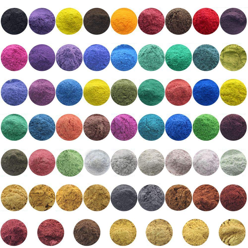 10g, 50g Cosmetic Grade Natural Mica Powder Pigment Soap Candle DIY Colorant Dye (All of 61 Colors, 10g)