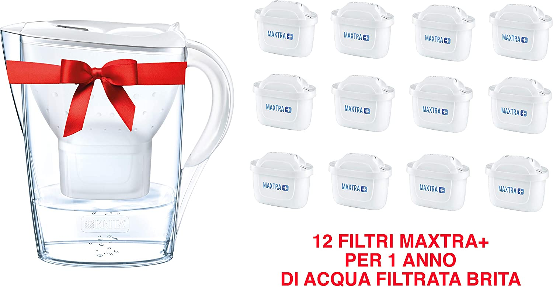 BRITA - Kit Marella con 12 filtros Maxtra +, Jarra filtrante para Agua, 2,4 L, Color Blanco