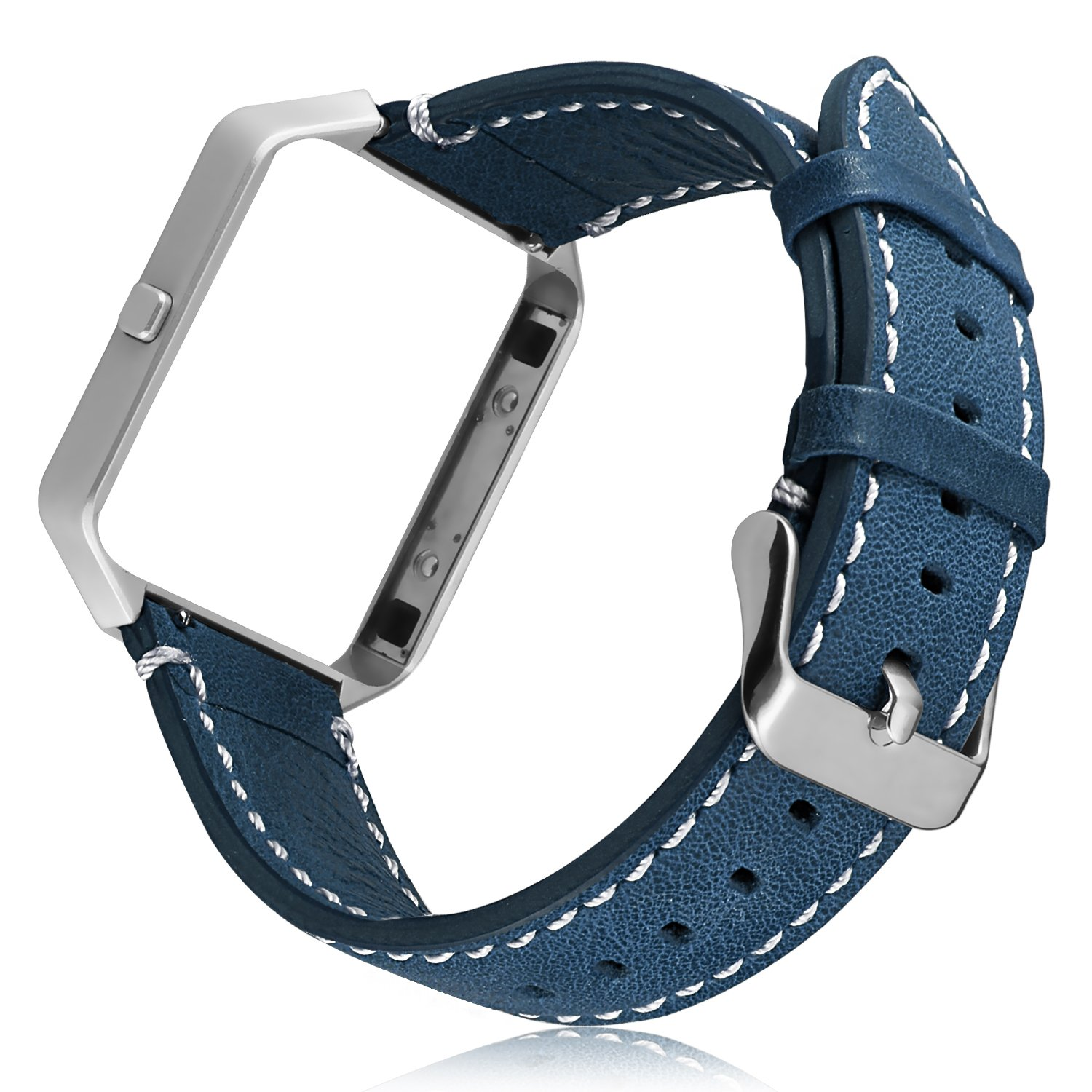 ESeekGo for Fitbit Blaze Bands, Genuine Leather Strap with Metal Frame for Fitbit Blaze Smart Watch Accessory Replacement Wristband (No Tracker,Blue Band + Silver Frame)