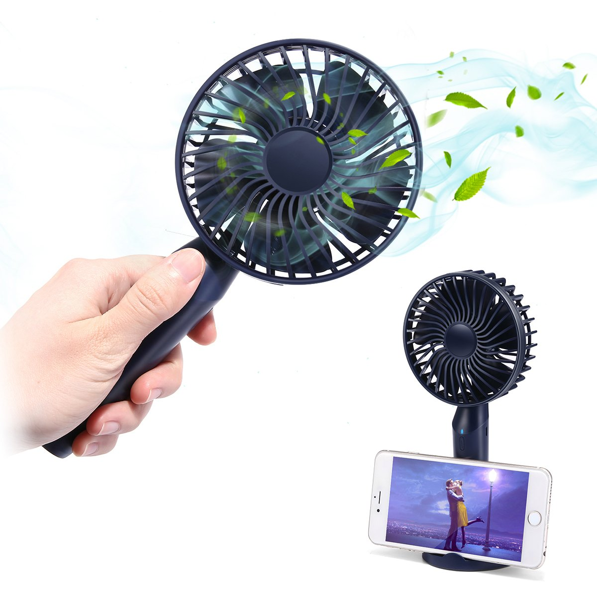 Mini Handheld Fan, MECO Portable Operated Fan Desktop Fan Outdoor Electric Fan with Phone Holder Aromatherapy Design 3 Speeds for Home Office Outdoors Travel-Newest 2018