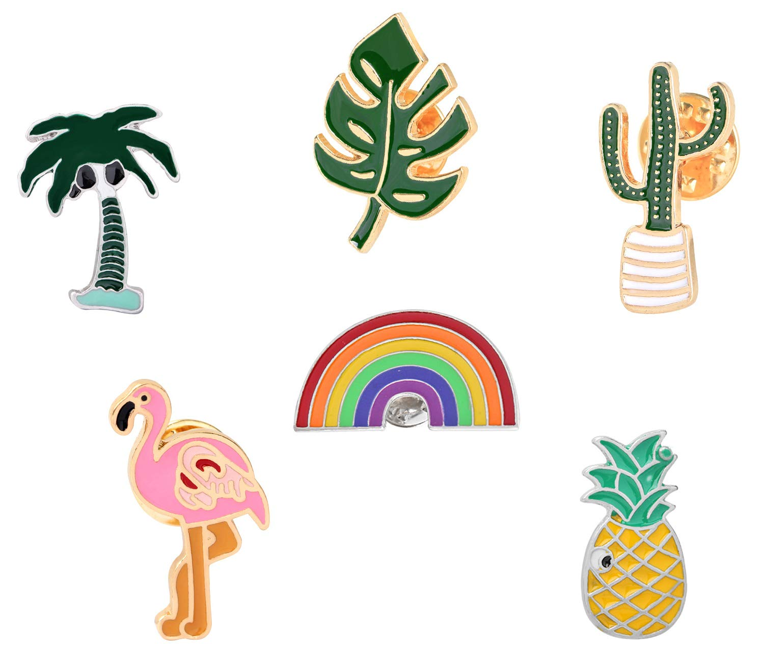 9d2d308f2f41 Enamel Pin Sets Cute Pins Funny Animal Lapel Pin Brooch Pin for Backpack  (Rainbow Cactus Set of 6)