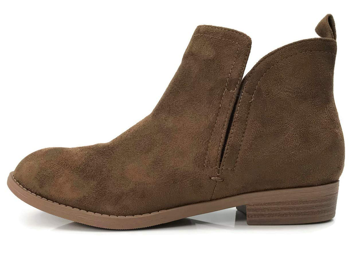 City Classified Women's Elastic Goring Cut Out Stacked Heel Ankle Booties, Chestnut, 8.5