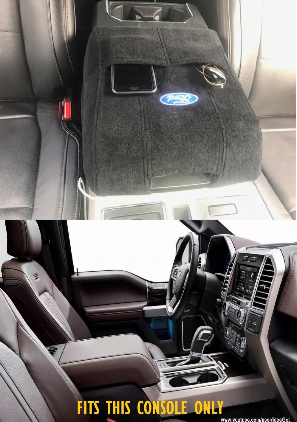 2004 - 2017 Ford F150 F250 F350 F450 CENTER CONSOLE COVER WTH FORD LOGO BRAND NEW IN PACKAGE Konsole Armour