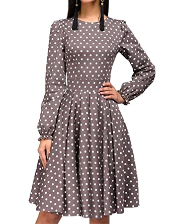 b9bdb6cb6b2 Simple Flavor Women s Polka Dot Print Ruffle Long Sleeve Vintage Midi Dress(Brown