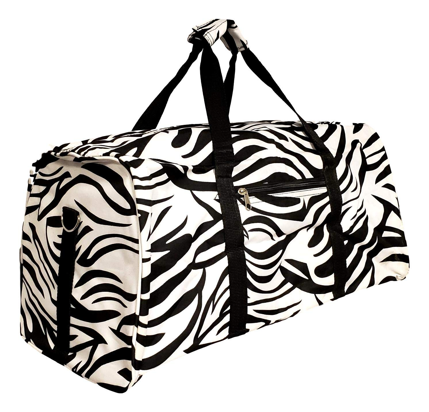 Custom Personalized 21 in Print Duffle Carry on Bag with Outside Pocket and Shoulder Strap Overnight Black White Zebra