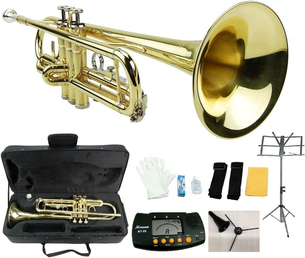 NEW Merano GOLD Lacquer Pocket Trumpet with Case Metro Tuner Mouth Piece