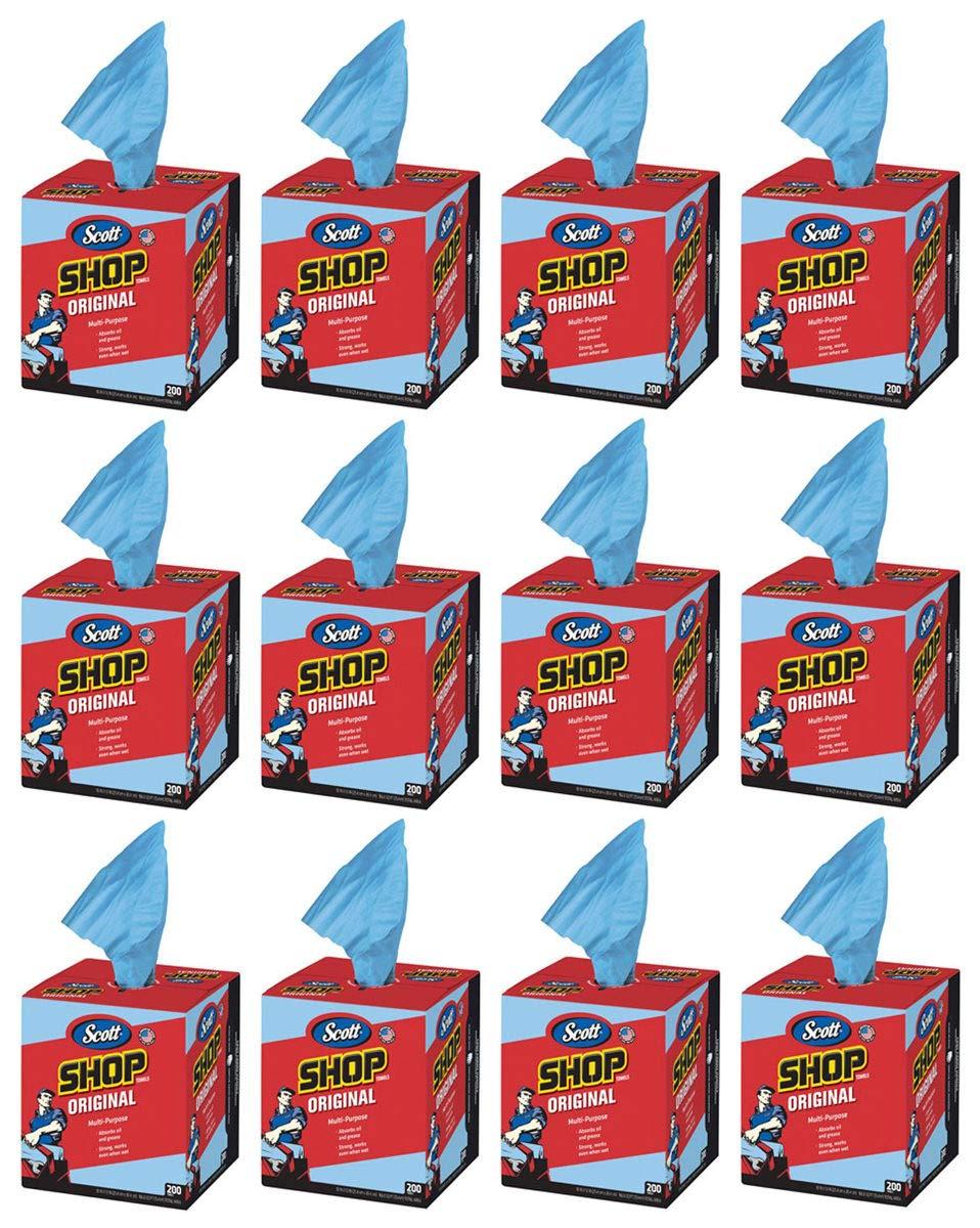 Scott cvb Kimberly-Clark 75190 Shop Towels, 10'' x 12'', Blue, 12 Box of 200 Towels
