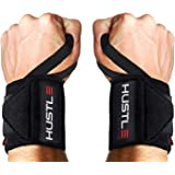 Hustle Athletics Wrist Wraps - Best Support for Weightlifting & Crossfit - Brace Your Wrists to Push Heavier, Avoid Injury & Improve Your Workout Instantly - for Men & Women