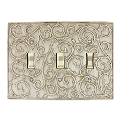 Meriville French Scroll 3 Toggle Wallplate, Triple Switch Electrical Cover Plate, Weathered White: Home Improvement