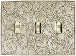 Meriville French Scroll 3 Toggle Wallplate, Triple Switch Electrical Cover Plate, Weathered White