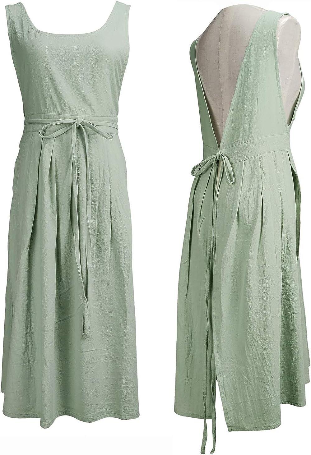Women Girls Vintage Pleated Split Apron V Neck Gardening Works Cotton Overall Smock Pinafore Dress