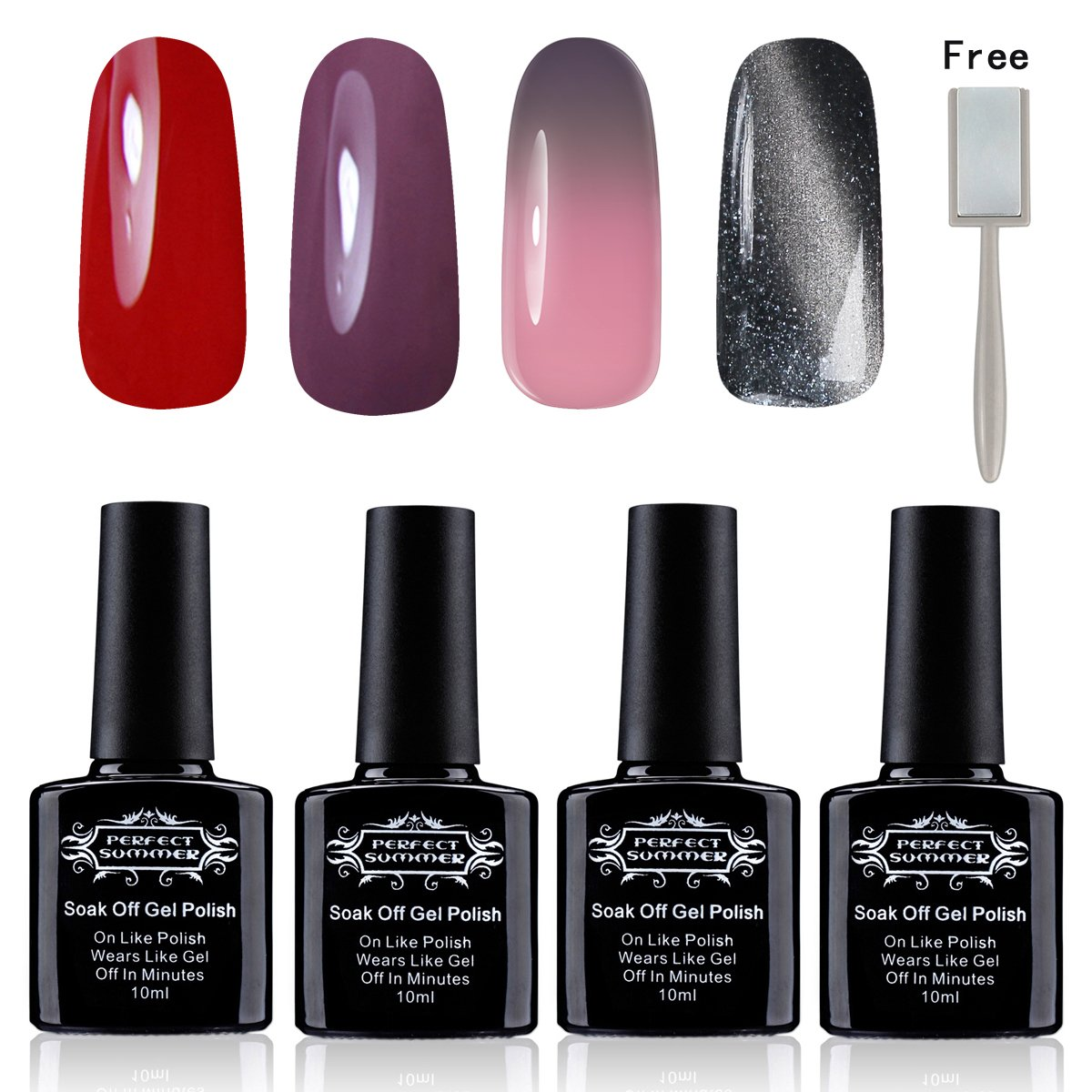 Perfect Summer Gel Nail Polish 4PCS Mixed Stypes Colors Varnish DIY Nail Starter Kits 002 Shun Yan Cosmetics. Ltd.