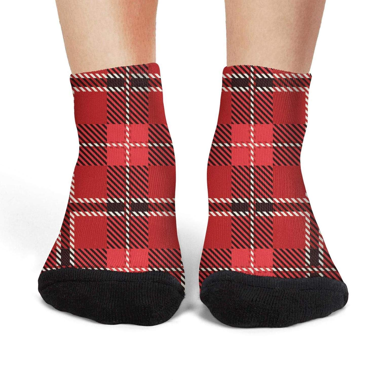 Mens athletic low cut Ankle sock Red Black Checkerboard British Plaid Vintage Non-Slip Fit Short Sock